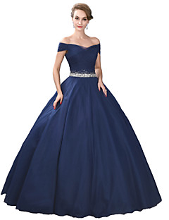 Formal Evening Dress Ball Gown Off-the-shoulder Floor-length Satin / Tulle / Stretch Satin with Crystal Detailing