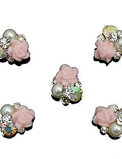 10pcs pérola rosa flor 3d strass acessórios diy nail art decoração