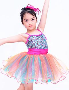 Danse classique Robes Enfant Spectacle Elasthanne Organza Paillété Ruché 2 Pièces Sans manche Taille moyenne Robe Coiffures