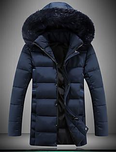 Men's Long Padded Coat,Spandex Solid Long Sleeve