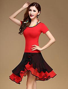 Tenue(Rouge,Coton / Tulle / Fibre de Lait,Danse latine)Danse latine- pourFemme Rushé Spectacle Danse latine Taille moyenne