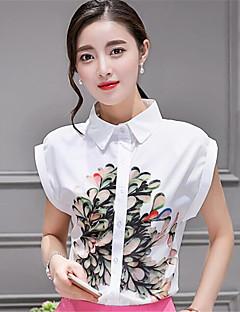 Kortermet Skjorte Skjortekrage Trykt mønster Polyester Kvinner