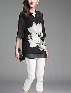 Damen Druck Einfach Ausgehen Bluse,V-Ausschnitt Sommer ¾-Arm Schwarz Polyester Dünn
