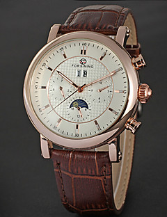 FORSINING Men's Auto-Mechanical Six Pointers Rose Gold Case Leather Band Wrist Watch