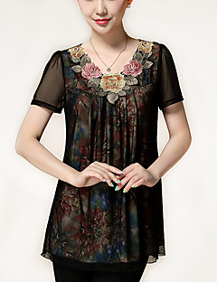 Women's Floral Multi-color Blouse,Plus Size / Casual Loose Embroidery Fashion Middle-aged Mother Dress Chiffon Shirt