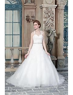 A-라인 웨딩 드레스 스윕 / 브러쉬 트레인 스트랩 새틴 와 아플리케 / 비즈