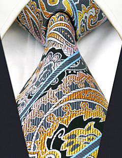 Men's 100% Silk  Tie Yellow Paisley   Necktie Jacquard Woven Business
