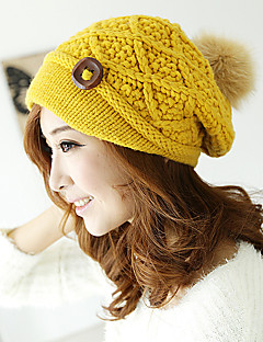 Pure Color Knit Wool Hat Autumn And Winter Warm Thick Decorative Buttons Hat