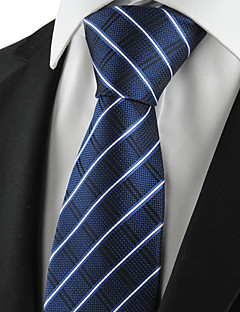 KissTies Men's Tie Dark Blue Striped Check Necktie Wedding/Business/Party/Work/Casual With Gift Box