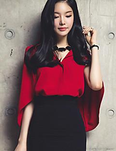 Mulheres Camisa Casual Sensual Verão,Sólido Vermelho Linho / Poliéster Colarinho de Camisa Manga Curta Fina