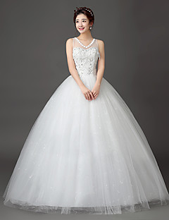 Ball Gown Wedding Dress Floor-length V-neck Lace / Satin / Tulle with Lace