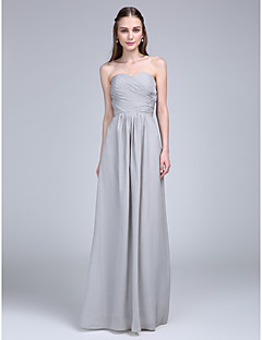 Lanting Bride® Floor-length Chiffon Bridesmaid Dress A-line Strapless / Sweetheart with Criss Cross