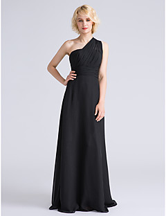 Lanting Bride Floor-length Chiffon Bridesmaid Dress Sheath / Column One Shoulder Plus Size / Petite with Side Draping / Ruching