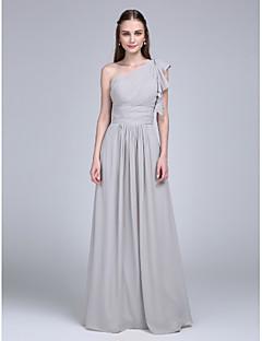 Yere Kadar Şifon Nedime Elbisesi Sütun Tek Omuz ile Fırfırlar / Yan Drape / Dantelalar