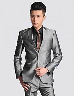 2017 Suits Tailored Fit Notch Single Breasted Two-buttons Polyester Solid 2 Pieces Gray Straight Flapped