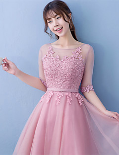 Short / Mini Lace / Satin Bridesmaid Dress Ball Gown Jewel with Lace / Sash / Ribbon