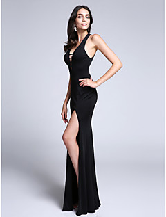 TS Couture® Formal Evening Dress Sheath / Column V-neck Watteau Train Jersey with Split Front