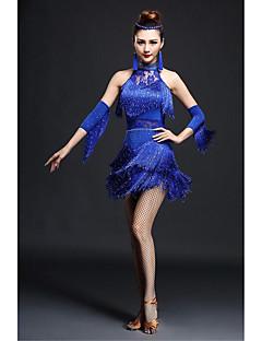 Balli latino-americani Abiti Per donna Da esibizione Elastene Cristalli/Strass / Fiocco 2 pezzi Senza maniche Alto Guanti / Vestiti