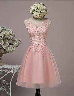 Al ginocchio Di pizzo / Raso / Tulle Vestito da damigella Da ballo Con decorazione gioiello con Perline / Con strass