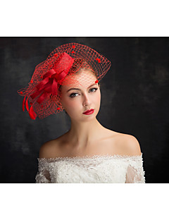 Women's Lace / Feather / Tulle / Flax / Net Headpiece-Special Occasion Fascinators 1 Piece Clear