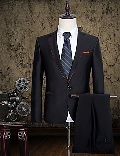 Suits Slim Fit Notch Single Breasted One-button Cotton Solid 2 Pieces Black Straight Piped None