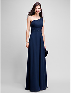 TS Couture® Formal Evening Dress Sheath / Column One Shoulder Floor-length Chiffon with Beading