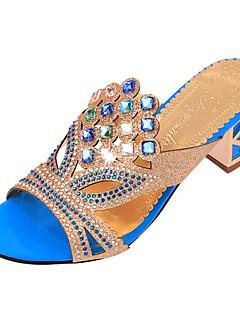 Pantofi pentru femei-Imitație de Piele-Toc Gros-Tocuri-Sandale / Papuci De Casă-Outdoor / Casual-Negru / Albastru / Auriu