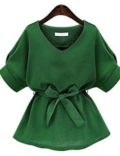 Damen Solide Street Schick Ausgehen Bluse,V-Ausschnitt Sommer Kurzarm Rosa / Weiß / Grün Baumwolle Mittel