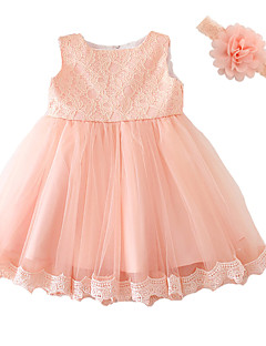 Baby Party Solid Dress,Polyester Summer-