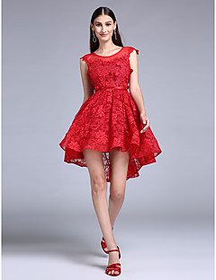Cocktail Party / Prom Dress A-line Jewel Knee-length Lace with Lace