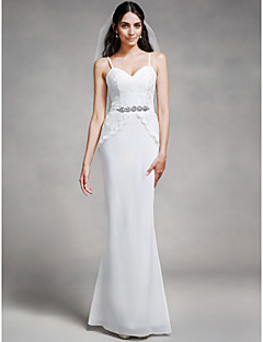 Lanting Bride® Floor-length Chiffon / Lace Bridesmaid Dress - Trumpet / Mermaid Spaghetti Straps with Crystal Detailing / Lace