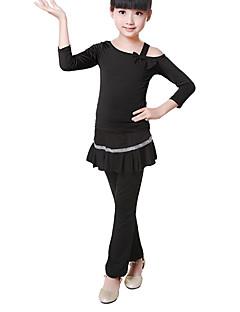 Children's Training Cotton Bow(s) 2 Pieces Long Sleeve Natural Top / Pants Children's Dance Clothes