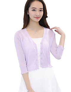 Women's Solid Blue / Pink / White / Black / Gray / Purple Cardigan,Street chic ¾ Sleeve
