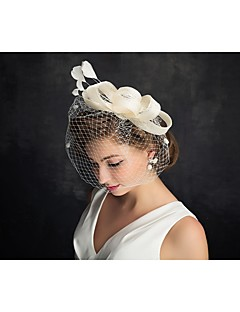 Women's Feather / Tulle Headpiece-Special Occasion Fascinators 1 Piece Clear Irregular 15