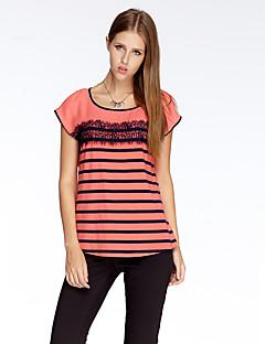 heartsoul kvinders gå ud simpel sommer t-shirt, patchwork rund hals kortærmet rød polyester tynd