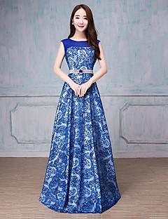 パールディテール付きaラインスクープネックフロア長チュールフォーマルイブニングドレス