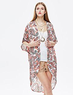 heartsoul kvinders gå ud simpel sommer blazer, Blomster rund hals ¾ ærme appelsin polyester lutter