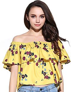 Γυναικεία T-shirt Καθημερινά Σέξι / Χαριτωμένο Φλοράλ,Κοντομάνικο Ώμοι Έξω Καλοκαίρι Λεπτό Άλλα Κίτρινο