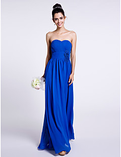 Lanting Bride® Floor-length Chiffon Bridesmaid Dress Sheath / Column Strapless with Flower(s) / Criss Cross
