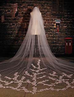 Hochzeitsschleier Zweischichtig Kathedralen Schleier Schnittkante Tüll / Spitzen Eifenbein