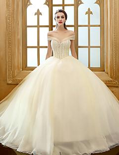 A-라인 웨딩 드레스 와토 트레인 끈없는 스타일 튤 와 비즈