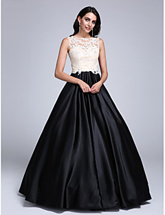 Prom Dress Ball Gown Jewel Floor-length Lace / Stretch Satin with Appliques / Beading