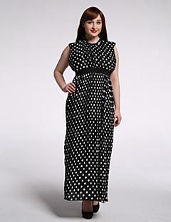 SWEET CURVE Women's Beach / Plus Size Boho Swing Dress,Polka Dot Round Neck Maxi Sleeveless Black Polyester Summer