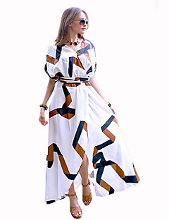 Women's Going out Street chic Swing Dress,Print V Neck Maxi ½ Length Sleeve White Polyester Summer