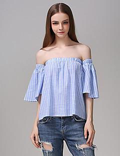 Mulheres Blusa Casual Moda de Rua Verão,Listrado Azul Algodão Decote Canoa Manga Curta Média