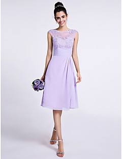 Lanting Bride® Knee-length Chiffon Bridesmaid Dress A-line Jewel with Appliques