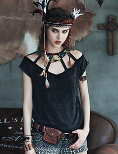 Aporia.As® Damen Rundhalsausschnitt 1/2 Länge Ärmel Shirt & Bluse Schwarz-MZ03032