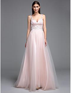 TS Couture Χορός Αποφοίτησης Επίσημο Βραδινό Φόρεμα - Ανοικτή Πλάτη Γραμμή Α Ιμάντες Μακρύ Τούλι με Χάντρες