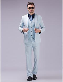 2017 blankytně modrá kostkovaný jediný oblek dvě tlačítka pro zapínání límec polyester / umělé hedvábí (t / r) tři kusy slim fit oblek