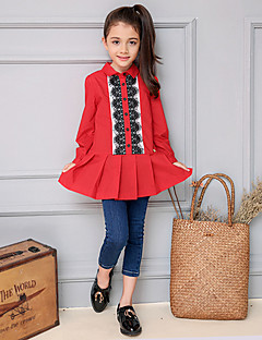 Girl's Casual/Daily Color Block Shirt / Blouse,Cotton Spring / Fall Red
